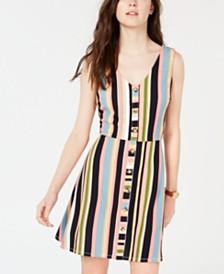 BCX Juniors' Striped Button-Front A-Line Dress