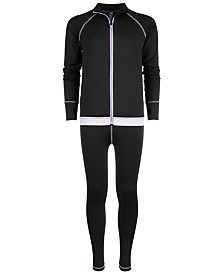 Ideology Big Girls Printed-Hem Zip-Up Jacket & Space-Dyed-Trim Leggings, Created for Macy's