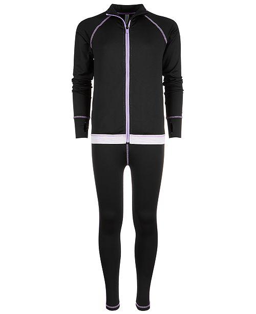 Ideology Big Girls Printed-Hem Zip-Up Jacket & Space-Dyed-Trim Leggings, Created for Macy's