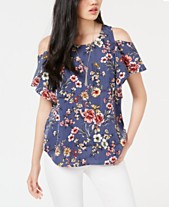 bf7698ae87e951 BCX Juniors  Printed Cold-Shoulder Top with Necklace