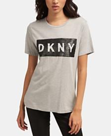 DKNY Reversible-Sequin Logo Crewneck Top