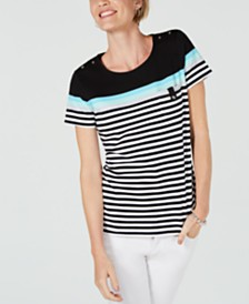 Karen Scott Petite Aster-Stripe T-Shirt, Created for Macy's