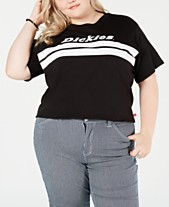 57a106f874cd17 Dickies Trendy Plus Size Logo Striped Graphic Cropped T-Shirt