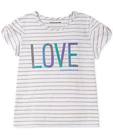 Calvin Klein Big Girls Graphic-Print Twist-Sleeve T-Shirt