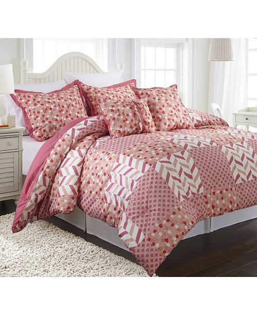 Nanshing Piper 5-Piece Reversible Comforter Set, Pink, Full/Queen