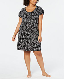 Charter Club Plus-Size Flutter-Sleeve Soft Knit Nightgown, Created for Macy's