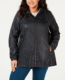 Ideology Plus Size Water-Resistant Hooded Jacket, Created for Macy's