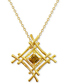 "Kesi Jewels Citrine Woven Bamboo 16"" Pendant Necklace (1-1/4 ct. t.w.) in 18k Gold-Plated Silver"