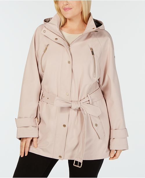 Michael Kors Plus Size Hooded Raincoat