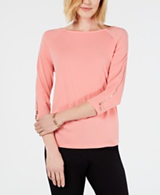JM Collection Petite Zip-Sleeve Top, Created for Macy's