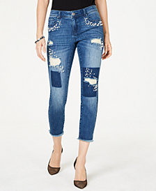 I.N.C. Faux-Pearl-Embellished Skinny Ankle Jeans, Created for Macy's