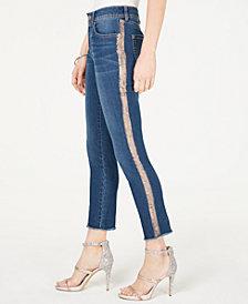 I.N.C. Rose-Gold Stripe Skinny Jeans, Created for Macy's