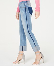 I.N.C. Two-Tone Cuffed Straight-Leg Ankle Jeans, Created for Macy's