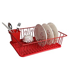 "MegaChef 17.5"" Red Dish Rack with 14 Plate Positioners and Detachable Utensil Holder"