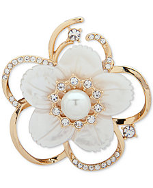 Anne Klein Gold-Tone Imitation Pearl, Mother-of-Pearl & Crystal Flower Pin, Created for Macy's