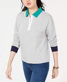 Hippie Rose Juniors' Colorblocked Polo Sweatshirt