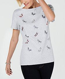Karen Scott Petite Short-Sleeve Garden Pals T-Shirt, Created for Macy's