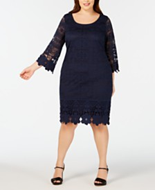 f3da6873731 Alfani Plus Size Crochet-Trim Illusion Dress