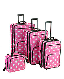 Rockland 4-Piece Pink Dots Luggage Set