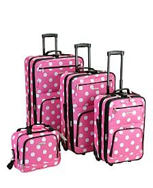 Rockland 4PCE Pink Dots Softside Luggage Set