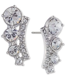 Givenchy Silver-Tone Crystal Climber Earrings