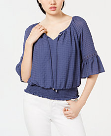 BCX Juniors' Smocked-Waist Peasant Top