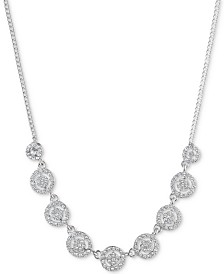 "Givenchy Crystal Halo Collar Necklace, 16"" + 3"" extender"