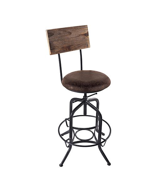 Armen Living Damian Adjustable Barstool Metal in Industrial Grey Finish with Brown Fabric Seat