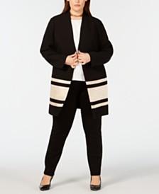 Alfani Plus Size Striped Jacket, Created for Macy's