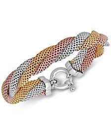 Mesh Twist Bracelet in Tri-Tone Sterling Silver