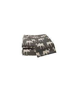 Moose Heather Ground Flannel Sheet Set Queen