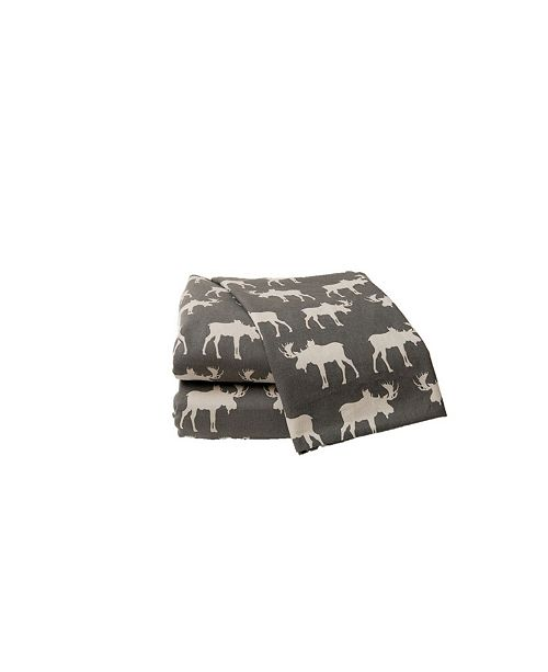 La Rochelle Moose Heather Ground Flannel Sheet Set Queen