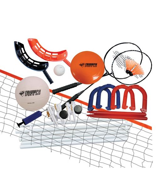 VIVA SOL Triumph 5 Outdoor Games Combo Set Includes Badminton, Volleyball, Horseshoes, Disc Golf, and Jai Alai