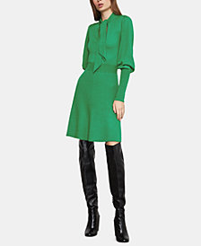 BCBGMAXAZRIA Tie-Neck Sweater Dress