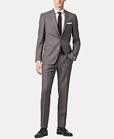 BOSS Men's Slim Fit Patterned Virgin Wool Suit