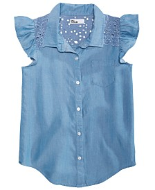 Epic Threads Big Girls Eyelet Chambray Shirt, Created for Macy's