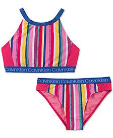 Calvin Klein Big Girls 2-Pc. Striped Bikini Swimsuit