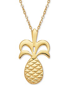 """Pineapple 17"""" Pendant Necklace in 14k Gold"""