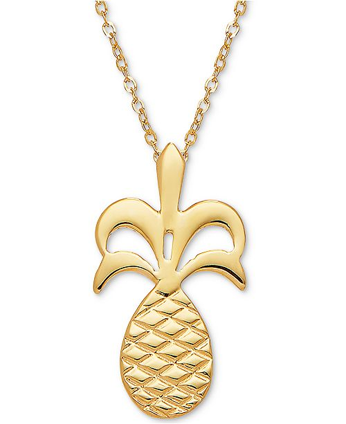 """Macy's Pineapple 17"""" Pendant Necklace in 14k Gold"""