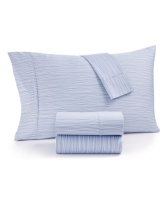 CLOSEOUT! AQ Textiles Modernist Printed Wavy Stripe 4-Pc. Queen Sheet Set, 750-Thread Count Cotton Blend, Created for Macy's