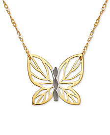 "Butterfly 17"" Pendant Necklace in 10k Gold"