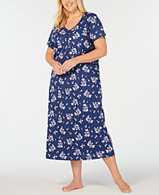 Charter Club Plus-Size Cotton Soft Knit Nightgown, Created for Macy's