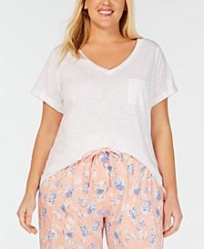 Plus Short-Sleeve Knit Pajama Shirt, Created for Macy's