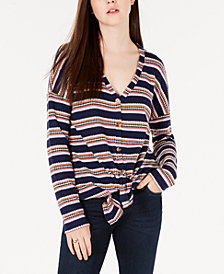 Hippie Rose Juniors' Striped Tie-Front Waffle-Knit Top