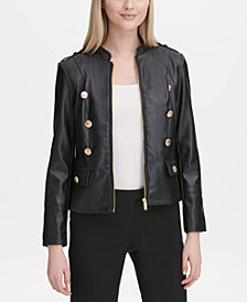 Calvin Klein Faux-Leather Military-Inspired Jacket