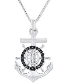 "Men's Black Diamond (1/4 ct. t.w.) Anchor Pendant 22"" Necklace in Sterling Silver & Black Rhodium"