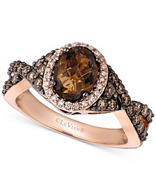 Chocolate Quartz (1-1/8 ct. t.w.), Chocolate Diamond (1/2 ct. t.w.) and Vanilla Diamond (1/10 ct. t.w.) Ring in 14k Rose Gold
