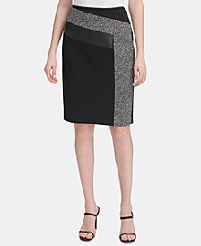Calvin Klein Tweed & Faux-Leather Pencil Skirt