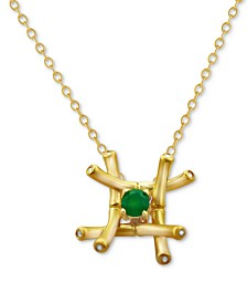 """Kesi Jewels Green Agate (1/4 ct. t.w.) & Diamond and White Topaz Accent Pendant Necklace in 18k Gold-Plated Sterling Silver, 16"""""""
