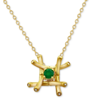 Kesi Jewels Green Agate (1/4 ct. t.w.) & Diamond and White Topaz Accent Pendant Necklace in 18k Gold-Plated Sterling Silver, 16